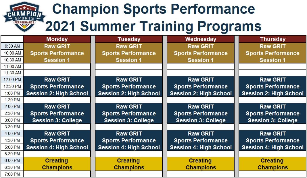 2021 Summer Training Program Schedule